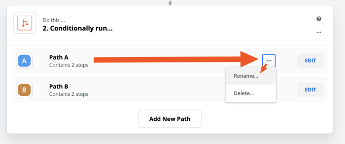 Arrow pointing to the options for Path A, then the Rename action to set a new name for the Path.