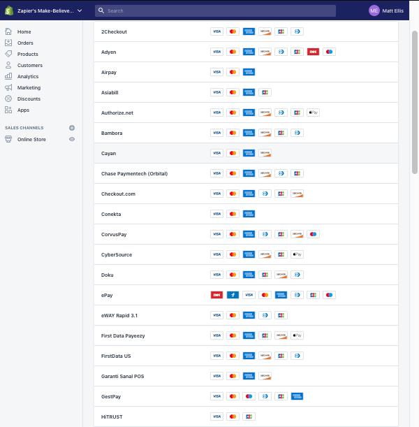 Shopify payment gateways screenshot