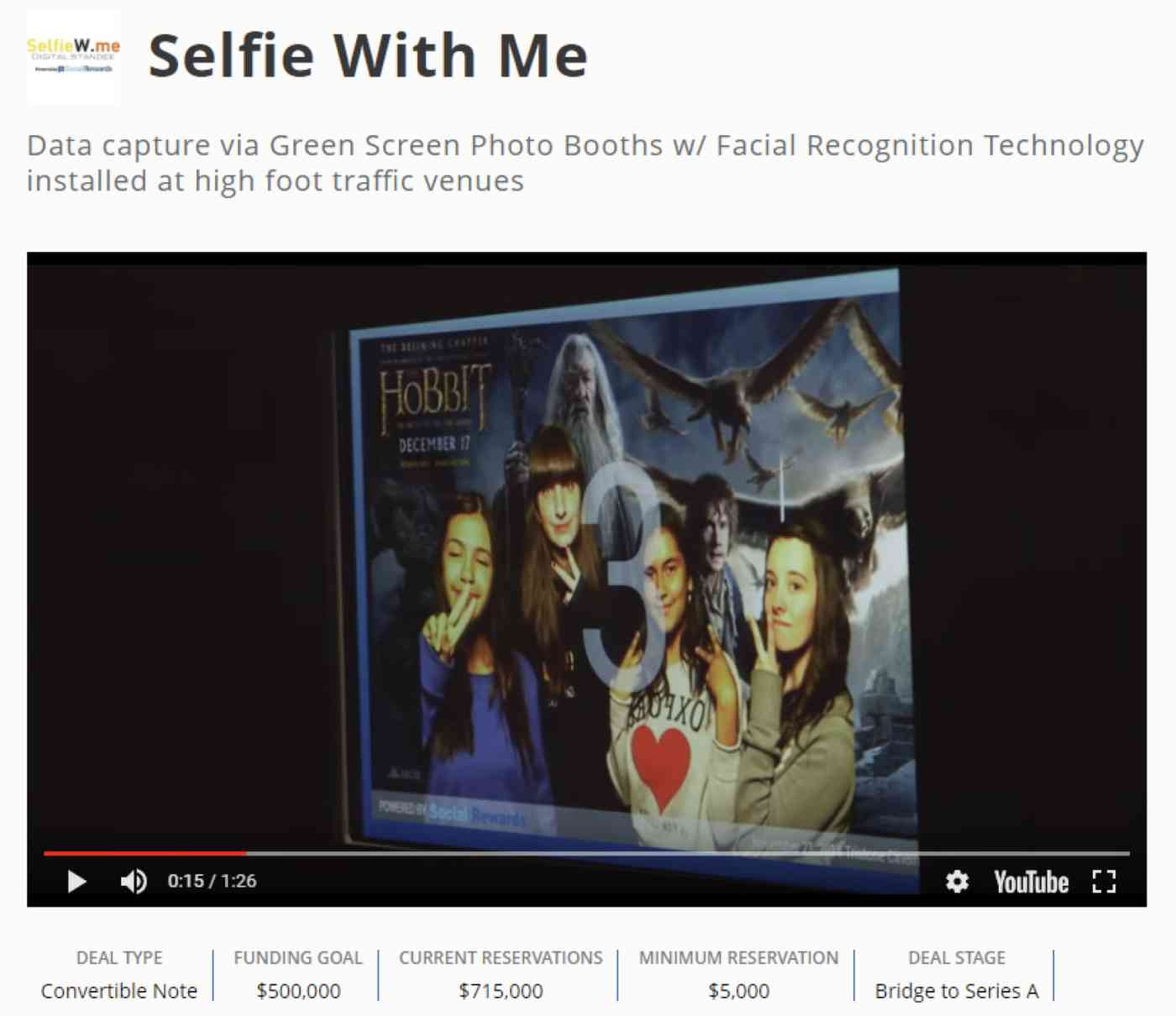 Selfie With Me page on Crowdfunder