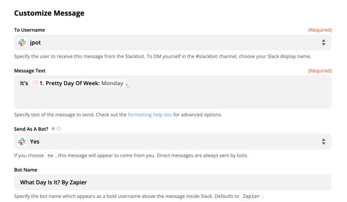 Customize a Slack message in Zapier