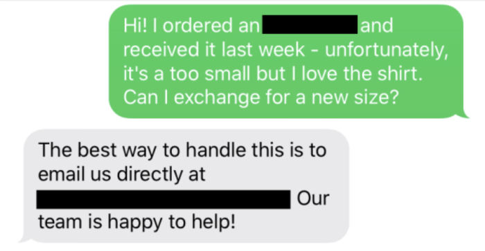 A customer texts a brand to ask if they can return something and they
