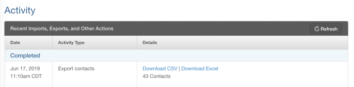 Download your contacts in Constant Contact