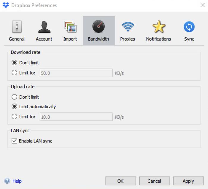LAN sync option on Dropbox