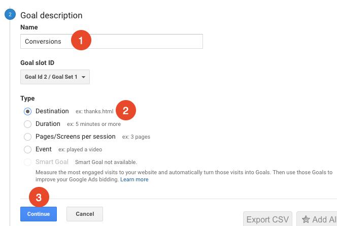create a destination goal in google analytics