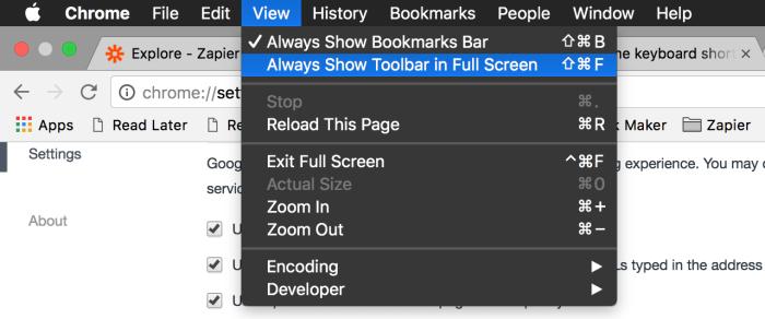 Chrome full-screen