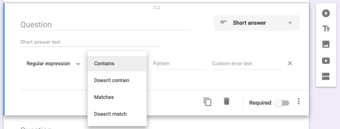 field validation options in Google Forms
