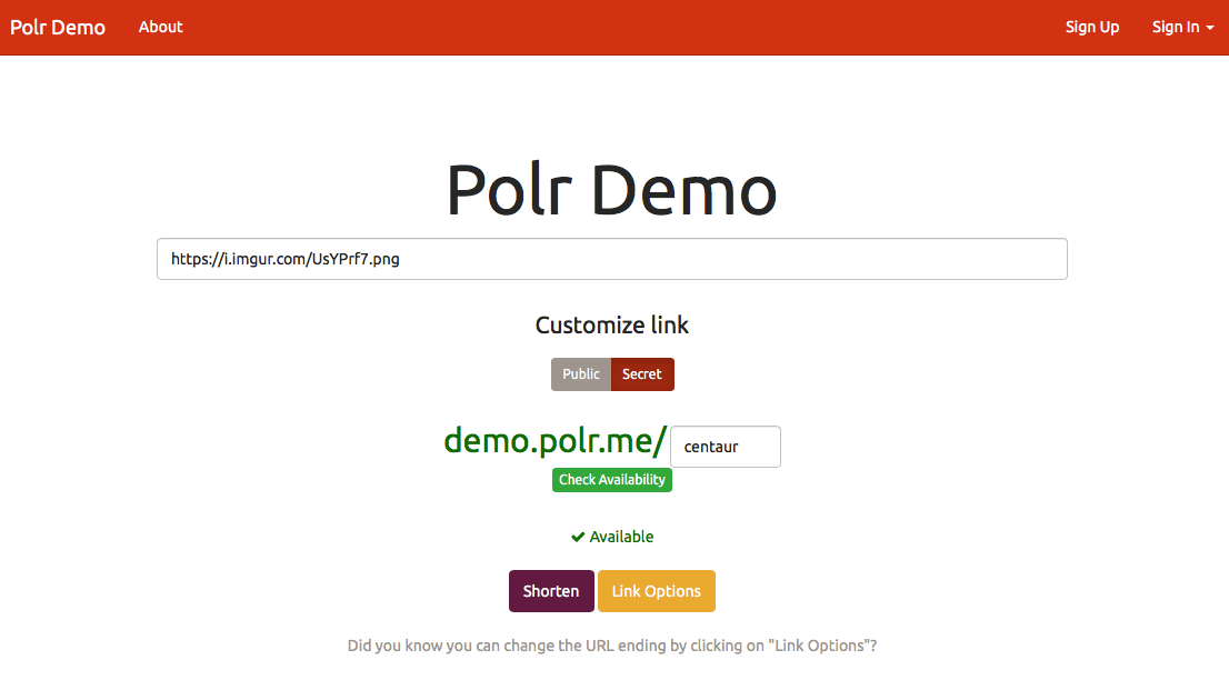Polr URL shortener