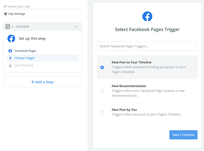 Create Facebook RSS feed in Zapier