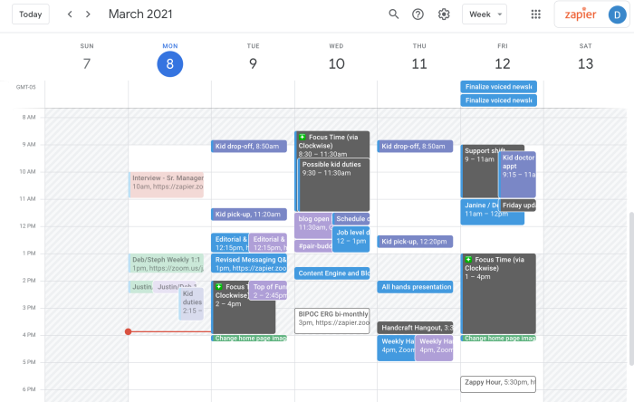Google Calendar with a gray background during Justin's non-working hours