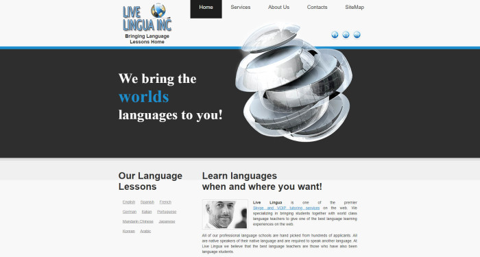 An early version of the Live Lingua website