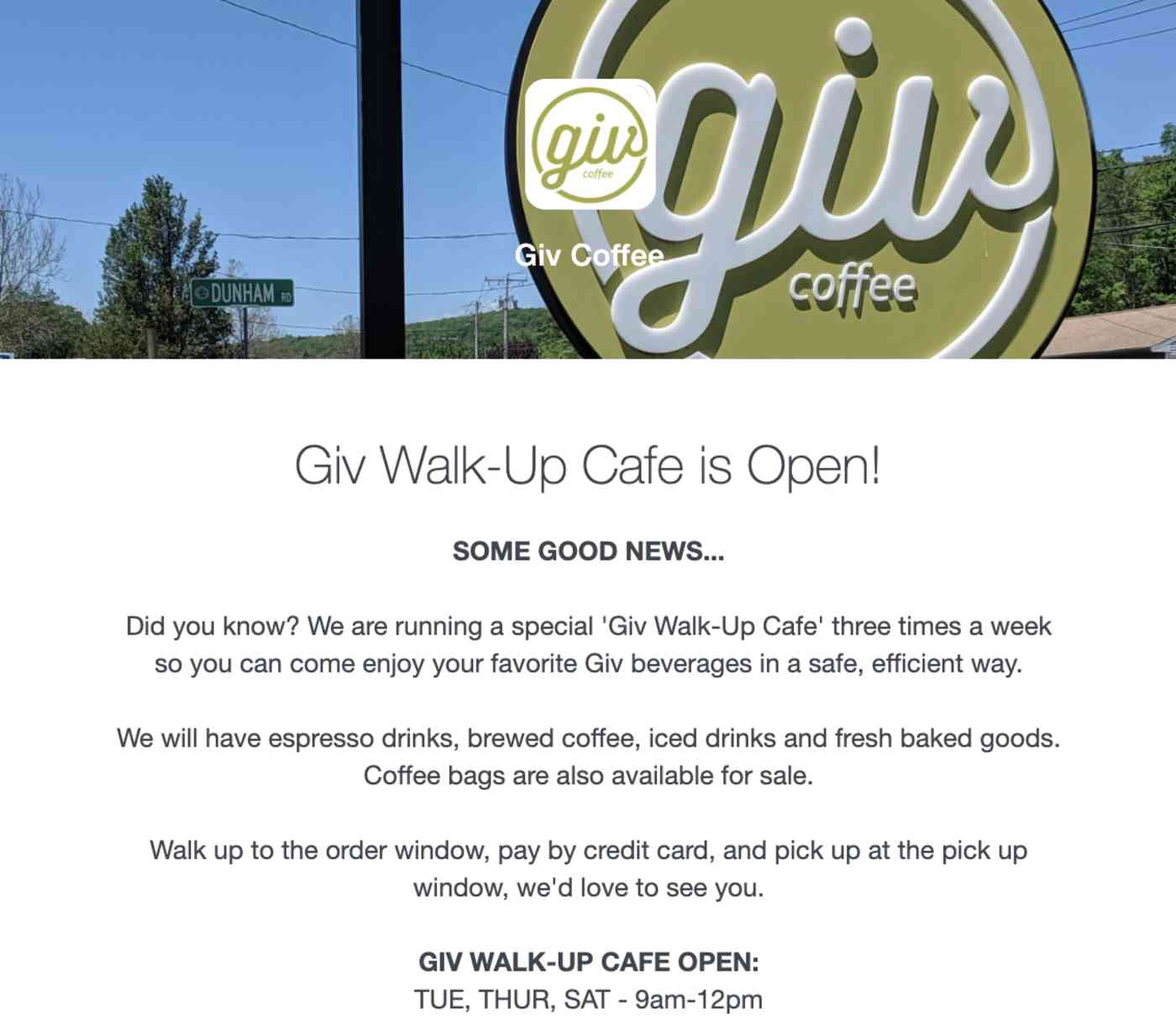 Giv Coffee Shop email telling me they