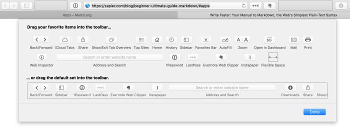 Safari View Options