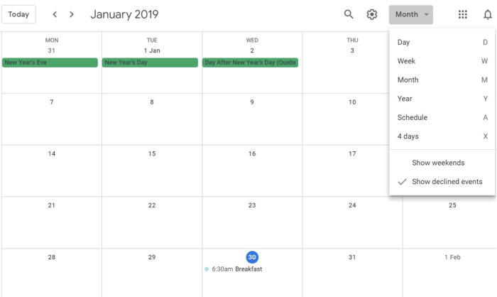 Viewing your calendar in month view