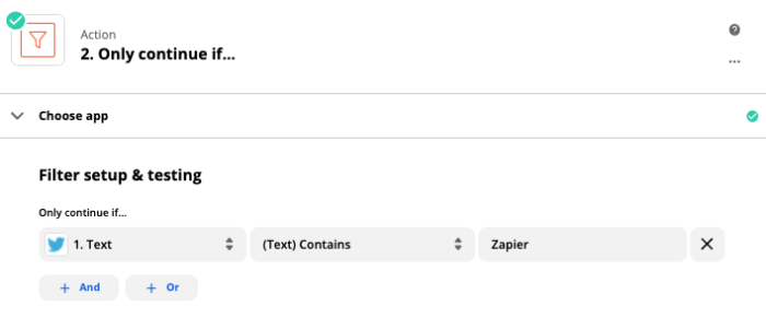 """A Filter set up to only allow a Zap to proceed if the text contains a specific term, in this case """"Zapier""""."""