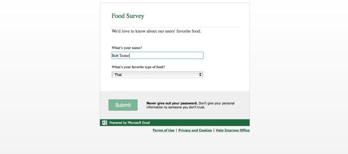 Excel Online Survey