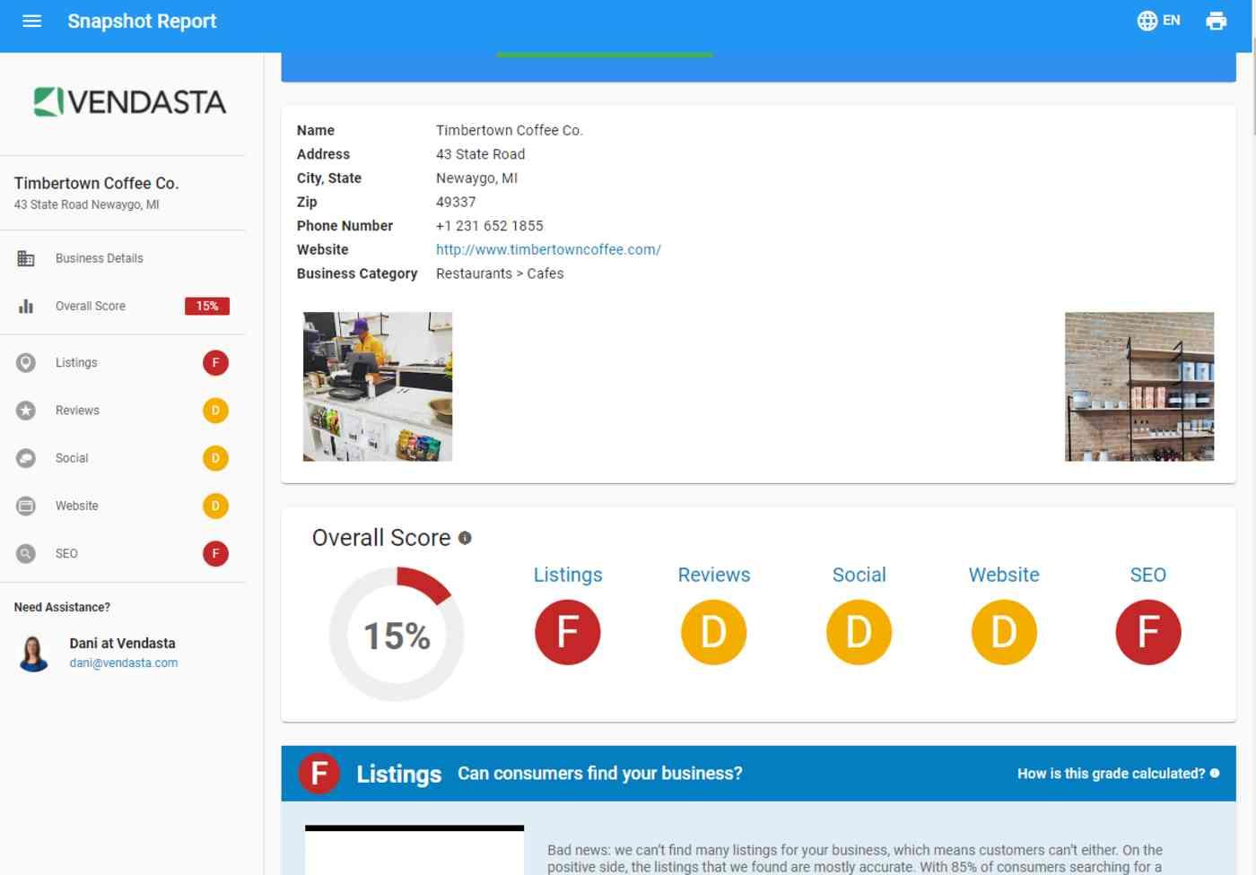A screenshot of a Vendasta report