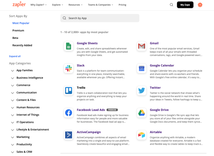 A screenshot of the Zapier app directory, showing a search bar near the top, 10 apps and app logos in the middle, and a list of app categories on the left side, like business intelligence, commerce, and communication.