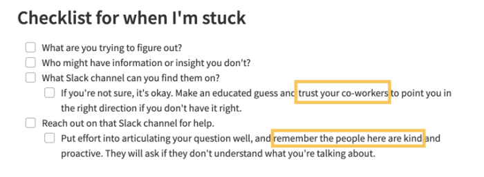 """A checklist in Evernote with the title """"Checklist for when I'm stuck."""" The list has questions prompting the author to consider areas where they may need help."""