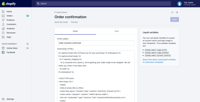 Shopify Email Notifications