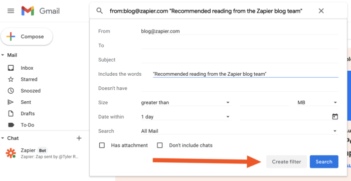 Create filter page in Gmail