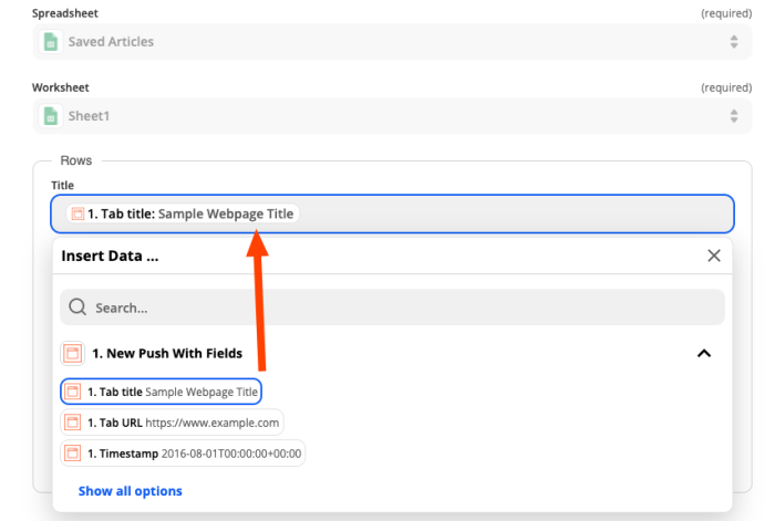 """Setting up the action step of your Zap showing the Chrome extension field for """"Tab title"""" being inserted in the """"Title"""" input field for your spreadsheet."""
