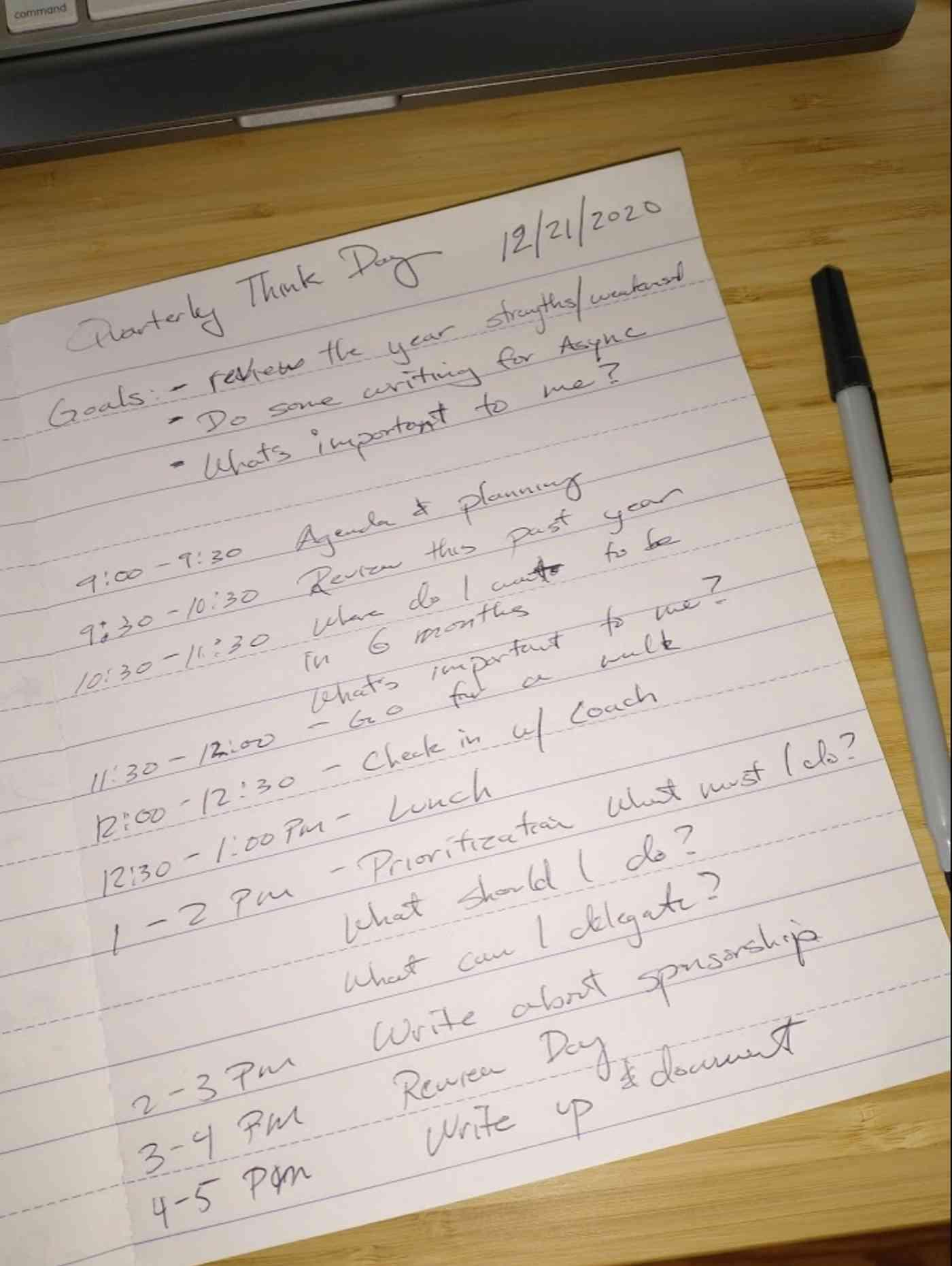 Thomas's agenda