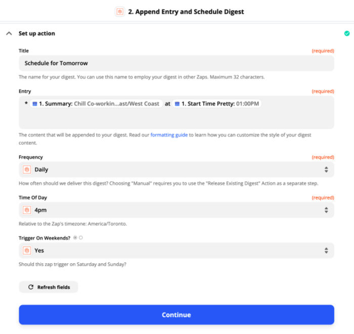 """Set-up page for """"Append entry and schedule digest"""""""
