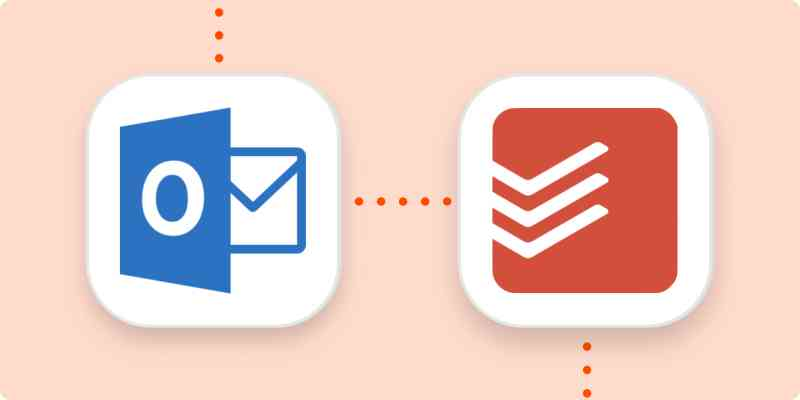 The Outlook and Todoist logos in white squares on an orange background.