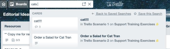 Trello search box