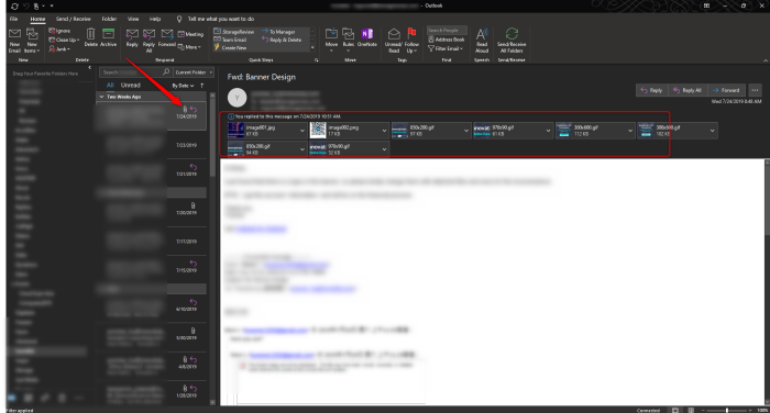 Outlook shows attachments at the top of the email.