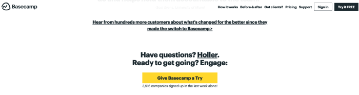 "Basecamp copywriting that says ""Have questions? Holler."""
