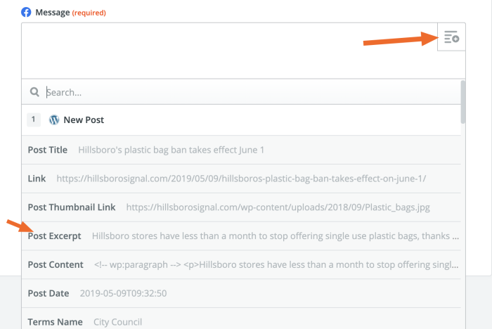 Using fields in Zapier to pull WordPress content over to Facebook