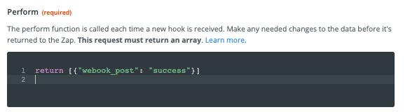 "Code snippet reads: return [{""webook_post"" : ""success""}]"