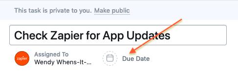 Due date link under Task Editor