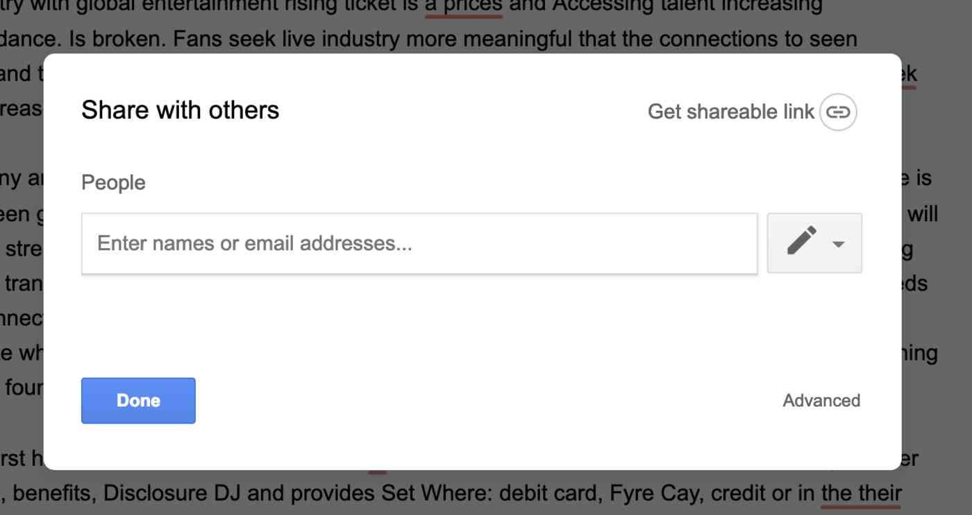 Google Docs sharing options