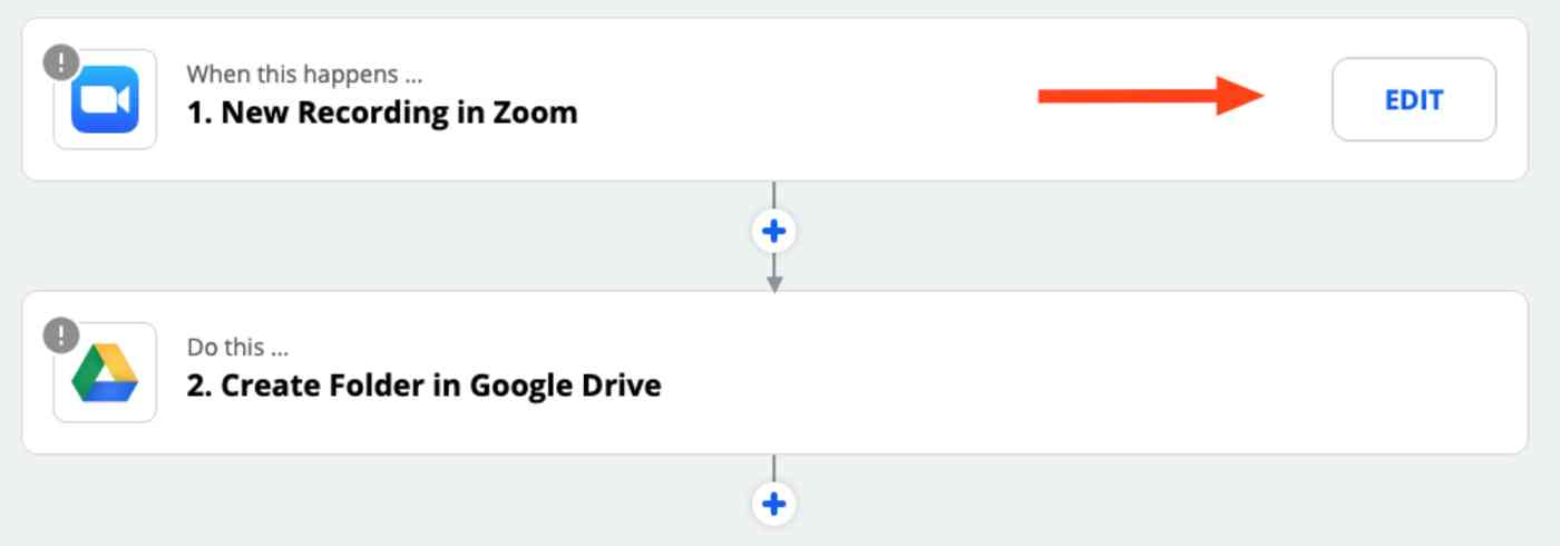A screenshot of the Zap Editor with Zoom and Google Drive populated for the trigger and action steps.