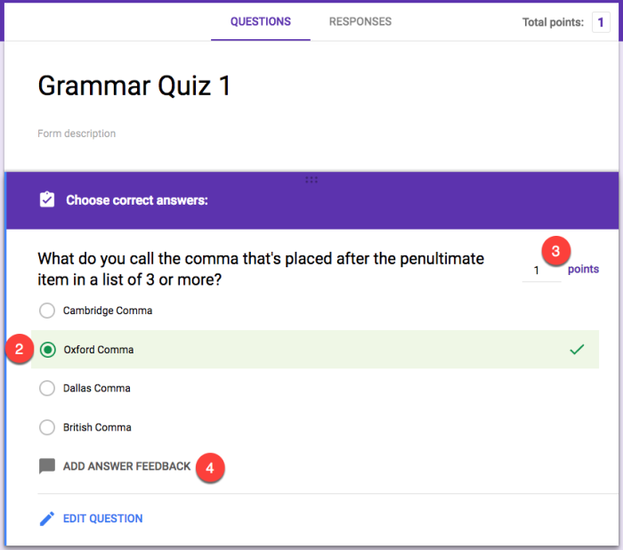 create an answer key in Google Forms