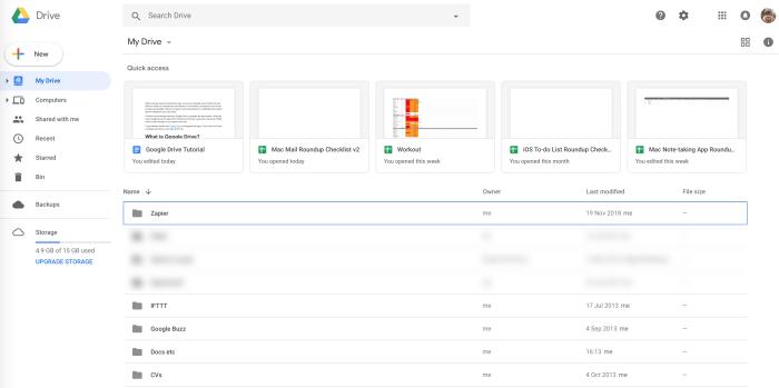 Google Drive initial view