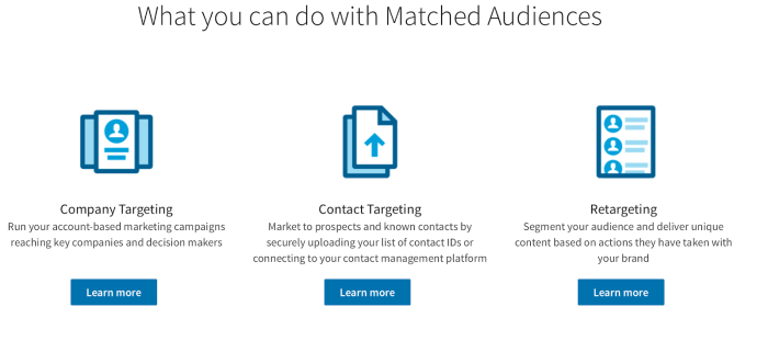 """Screenshot of """"What you can do with Matched Audiences"""" page with icons for company targeting, contact targeting, and retargeting."""