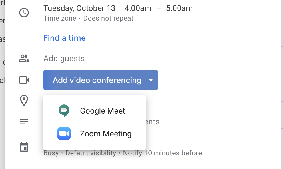 multiple video conferencing options in Google Calendars