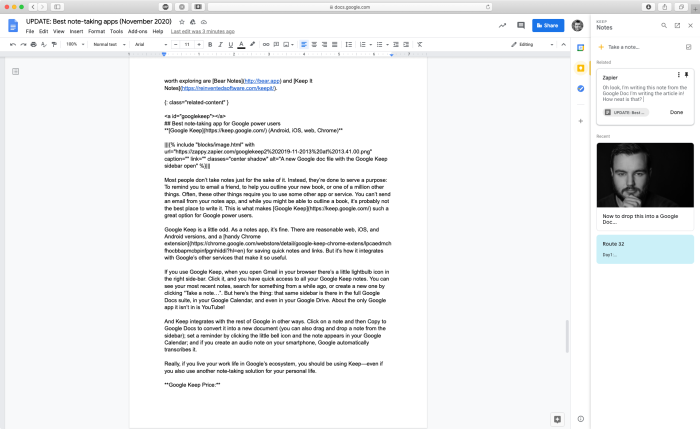 A new Google doc file with the Google Keep sidebar open
