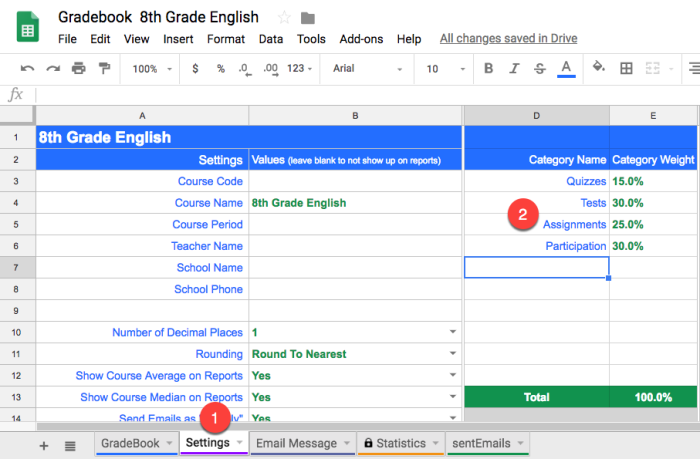 creating weighted categories in GradeBook for Google Sheets