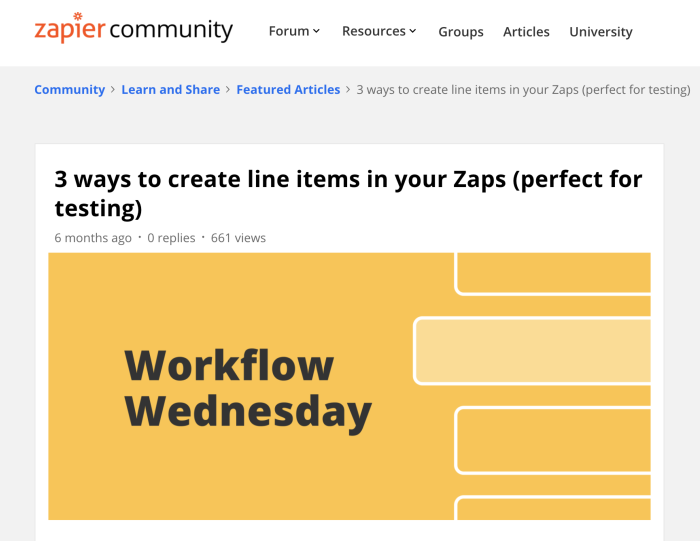 A post in the Zapier Community about line items
