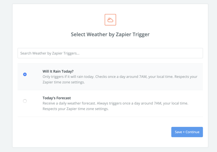 Configuración de Zapier Weather