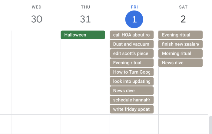 TickTick tasks in Google Calendar