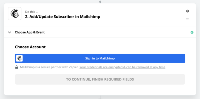 Connect Mailchip account