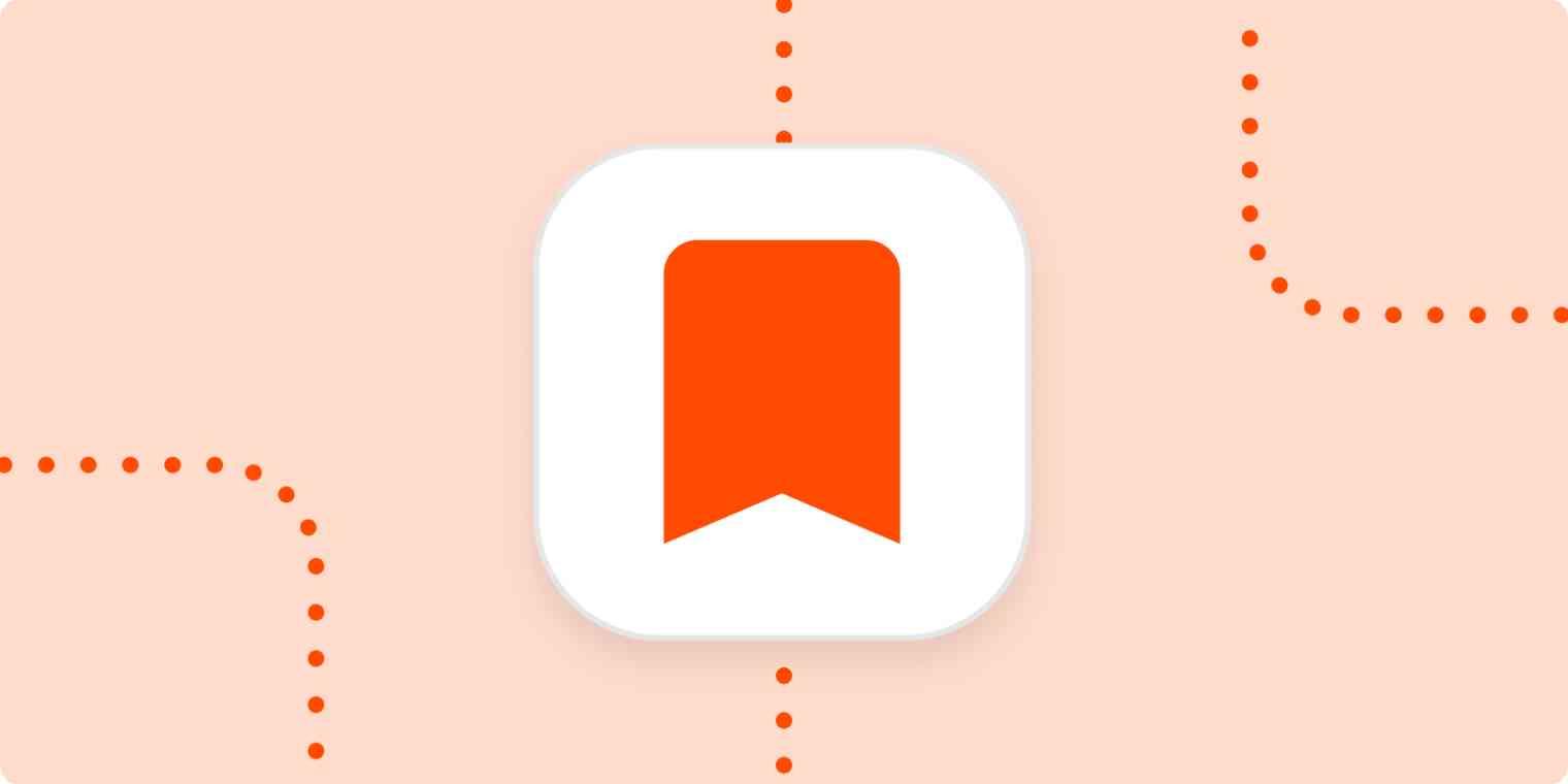 A bookmark icon in a white square on a light orange background.