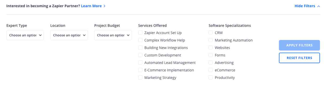 A screenshot of the Zapier Expert directory, showing fields for filters like the type of expert, location, budget, services, and software specialization.