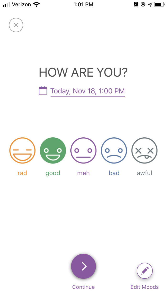 A journal entry in Daylio with mood options to choose from