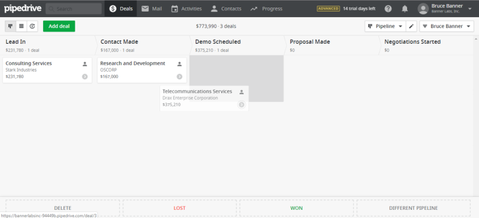 Dragging activities in Pipedrive CRM